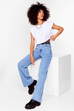 Arms Open Wide-Leg High-Waisted Jeans - Blue