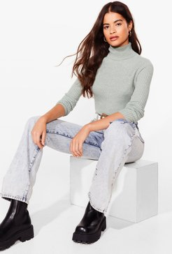 Roll With It Ribbed Turtleneck Sweater - Mint