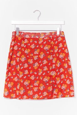 floral side split mini skirt - Red