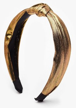 Let Your Hair Down Metallic Knot Headband - Gold
