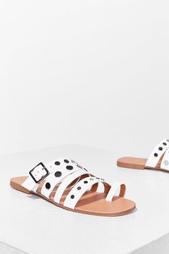 Stud Vibes Faux Leather Flat Sandals - White