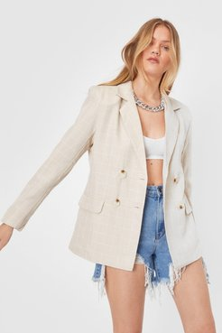 Check Oversized Double Breasted Blazer - Beige