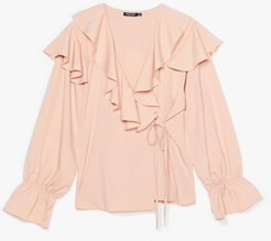 What Frill Happen Ruffle Blouse - Nude