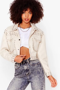 Tell Me About It Stud Faux Leather Shirt Jacket - Cream