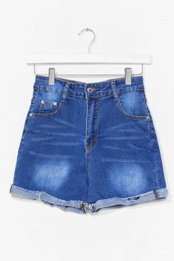 Roll Hem Denim Shorts - Blue