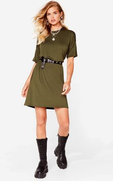 Loose Fit Midi T-Shirt Dress - Khaki