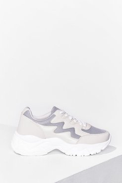 Running Errands Faux Leather Chunky Sneakers - Beige
