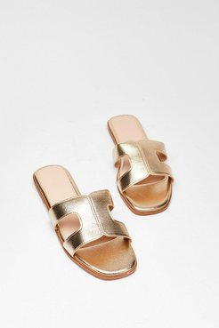 Cut-Out About Town Faux Leather Sandals - Gold