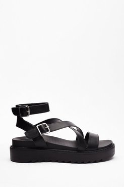 Strappy That's Over Faux Leather Chunky Sandals - Black