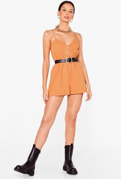 Button Down Relaxed Strappy Romper - Camel