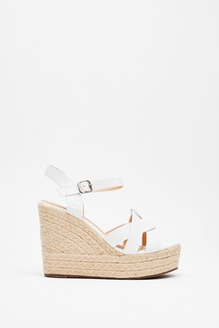 Knot Stuff Espadrille Faux Leather Wedges - White