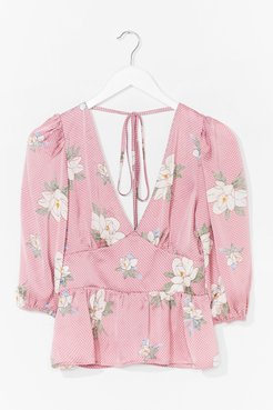 Work the Bloom Plunging Tie Back Blouse - Pink