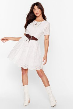 Lace Go Broderie Anglaise Mini Dress - White