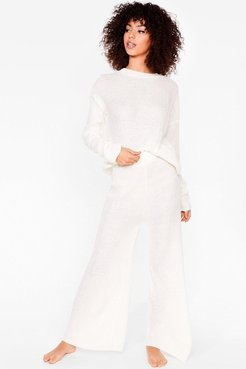 Love You Culotte Knit Sweater and Pants Lounge Set - Cream