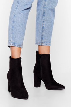 We Faux Suede It Heeled Ankle Boots - Black