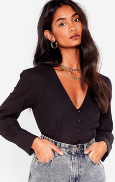Linen What They Want V-Neck Cropped Blouse - Black