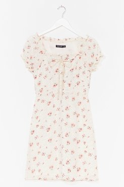 Lace-Up Your Game Floral Mini Dress - White