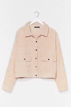 Plus Size Button Down Corduroy Jacket - Ecru