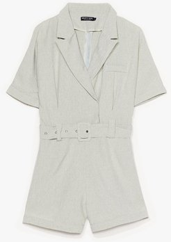 Belted in the Sun Tailored Romper - Sage