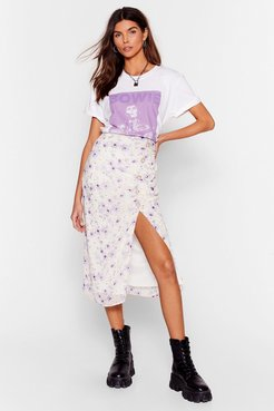 Growing You Off Floral Midi Skirt - Lilac