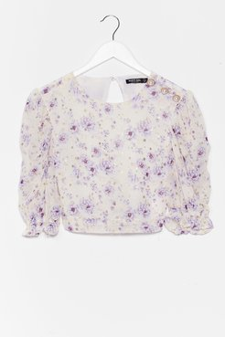 Growing You Off Puff Sleeve Crop Top - Lilac
