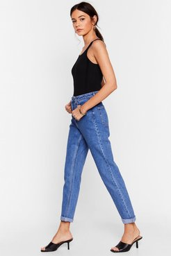 Are You Up To It High-Waisted Mom Jeans - Mid Blue