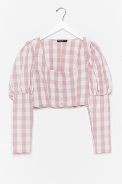 Gingham a Reason Puff Sleeve Cropped Blouse - Pink