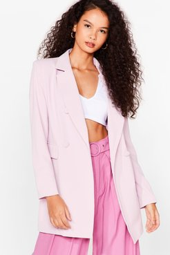 Office Hours Longline Double Breasted Blazer - Pink