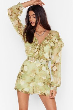 When the Light's Grow Out Floral Romper - Green