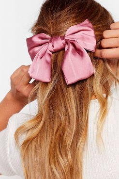 Bow Your Own Way Satin Hair Clip - Pink