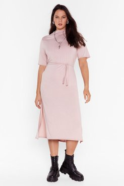 Plus Size Belted Midi Dress with Slits - Rose