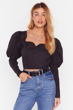 If It Were Button-Down to Me Cropped Blouse - Black