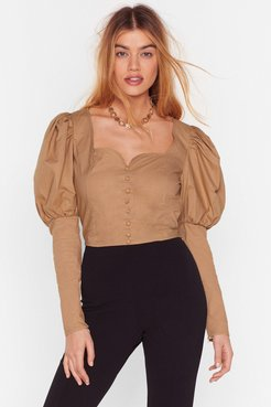If It Were Button-Down to Me Cropped Blouse - Sand