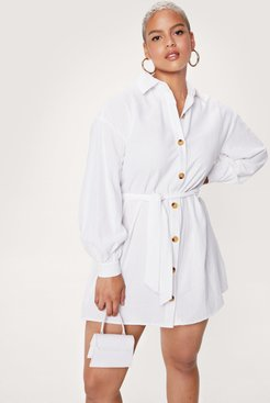 Be There in a Mini Plus Belted Shirt Dress - White