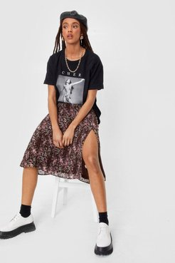 Grow the Difference Floral Midi Skirt - Black