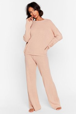 High-Waisted Sweater And Ribbed Pants Lounge Set - Nude