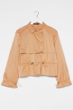 Draw the Line Cropped Trench Coat - Camel