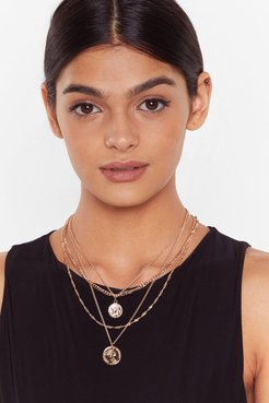 Layered Chain Necklace with Coin Pendant - Gold