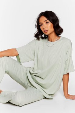 Together Again Oversized Tee and Pants Set - Sage