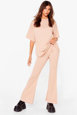 Together Again Oversized Tee and Pants Set - Stone