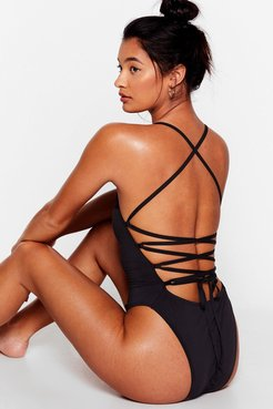 Back Me Up Strappy High-Leg Swimsuit - Black