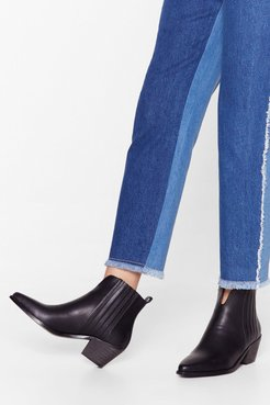 Miss the West Part Faux Leather Ankle Boots - Black