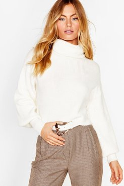 Puff Sleeve Turtleneck Sweater with Fitted Cuffs - White