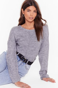 Relaxed Knit Sweater with Crew Line - Grey