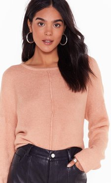 Relaxed Knit Sweater with Crew Line - Pink