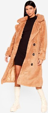 Faux Shearling Longline Coat with Button Closures - Camel