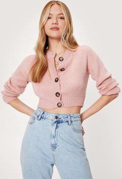 Cropped Cardigan with Ribbed Edges - Rose