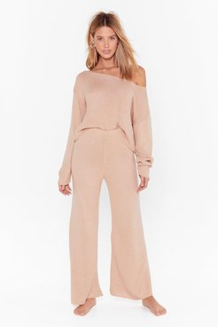 Knit Off-The-Shoulder Lounge Sweater And High-Waisted Pants - Nude