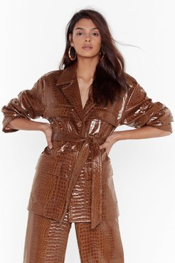 Can't Croc Me Now Vinyl Belted Jacket - Tan