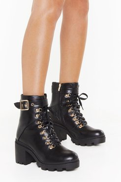 See You Lace-Up Block Heel Boots - Black